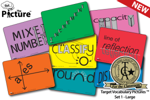 Example cards from Get the Picture Math Vocabulary cards: Mixed Number, Increment, Capacity, Line of Reflection, Distance, Classify, Round, Axes. includes 2012 TCA