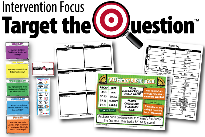 Product Image of Target the Question: Intervention Focus including Monday through Friday question examples, a Scenario example, answer key, student sheet, and problem solving poster. Update banner.