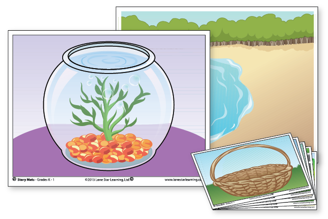 3 example Story Mats: Fish Bowl, Lake Shore, and Easter Basket